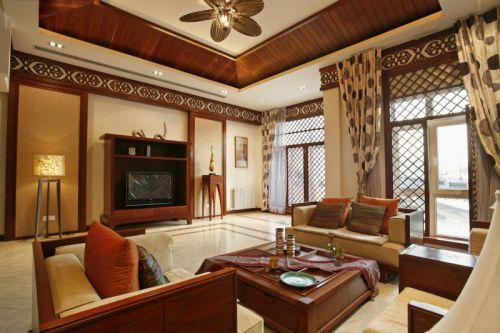 東南亞風格別墅客廳飄窗圖片