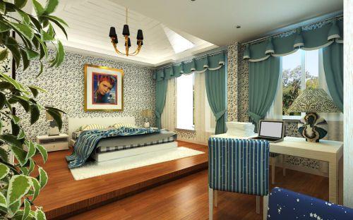 最新美式卧室窗帘搭配效果图