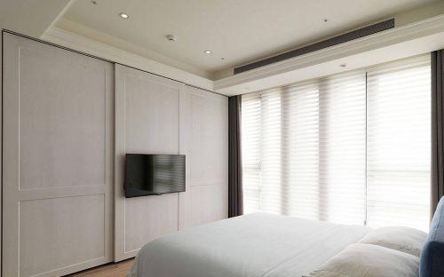 欧式风格卧室电视墙收纳柜设计