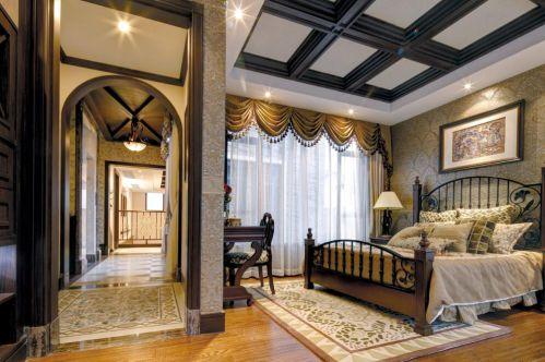 优雅古典美式卧室过道设计
