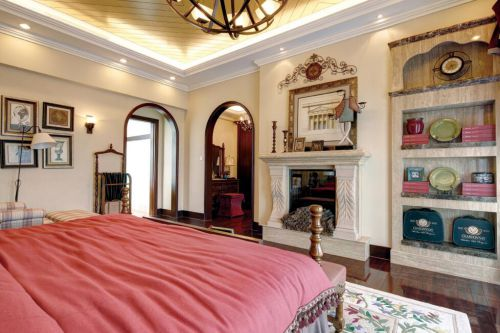 美式风格别墅卧室壁炉设计