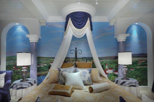 豪华地中海别墅卧室背景墙效果图