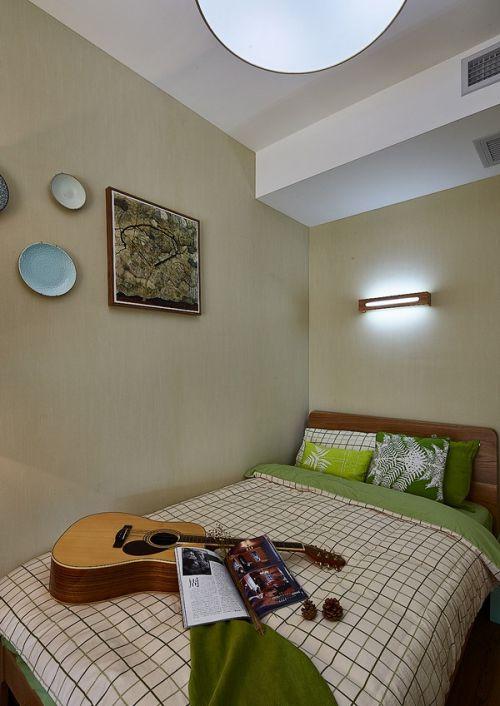 清新文艺混搭风公寓卧室背景墙效果图