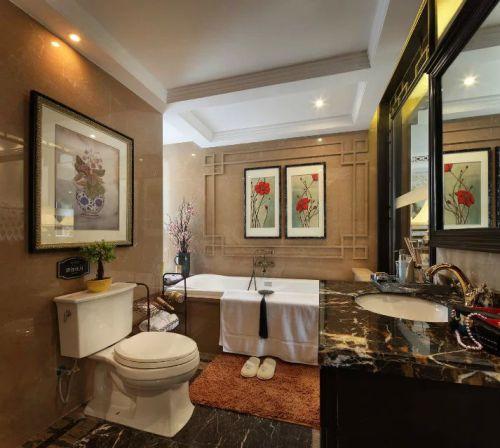中式卫生间照片墙装修设计图片