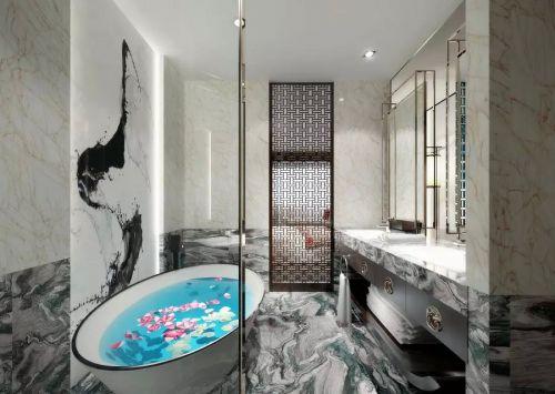 新中式风格三居室卫生间背景墙设计