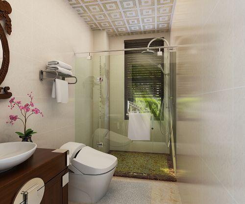 137平米舒适中式风格卫生间马桶效果图