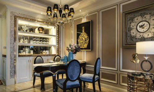 现代美式餐厅照片墙效果图