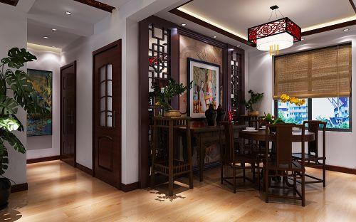 137平米舒适中式风格餐厅餐桌效果图