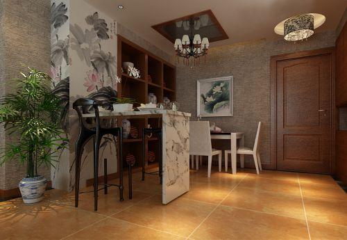 舒适中式风格三居室餐厅背景墙效果图