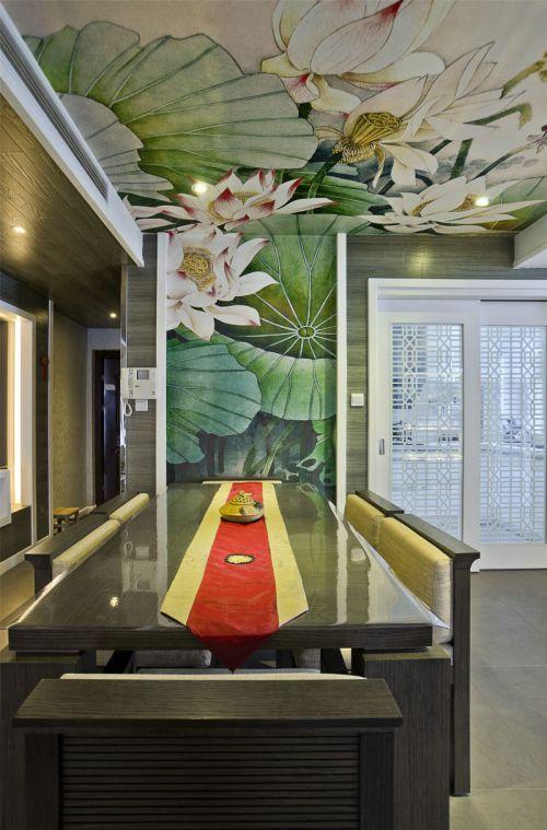 中式风格别墅餐厅背景墙设计