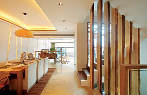 265平米中式别墅餐厅背景墙装修效果图