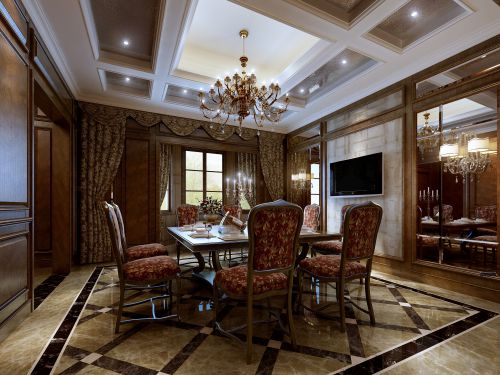 古典美式餐厅窗帘图片