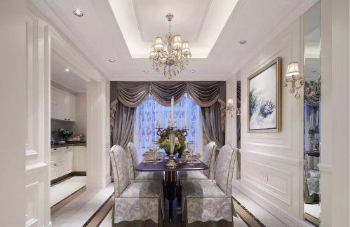 美式餐厅窗帘装饰图片