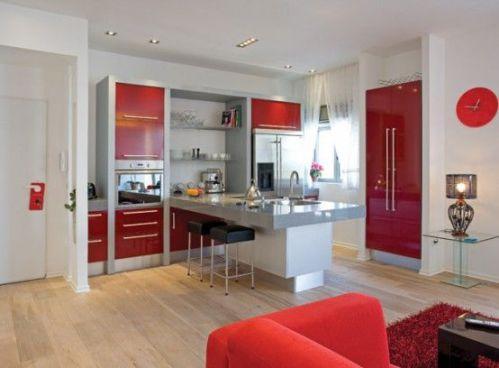 红白混搭小户型厨房吧台图片