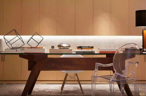 现代中式书房书桌效果图