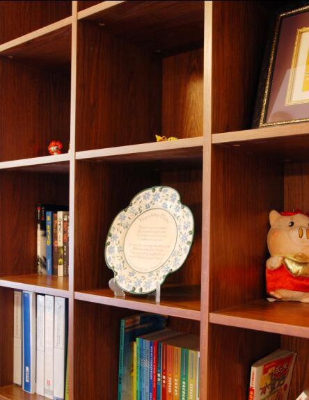 田园风格书房书桌书柜摆放