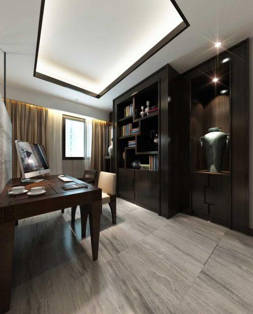 新中式三居室书房书柜设计图片