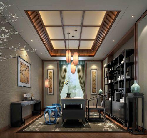 23万时尚中式风格书房吊顶装修设计