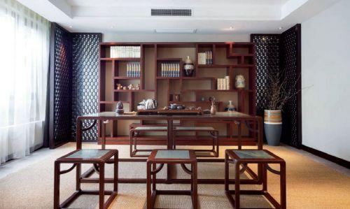 136平米复式中式风格书房书柜设计