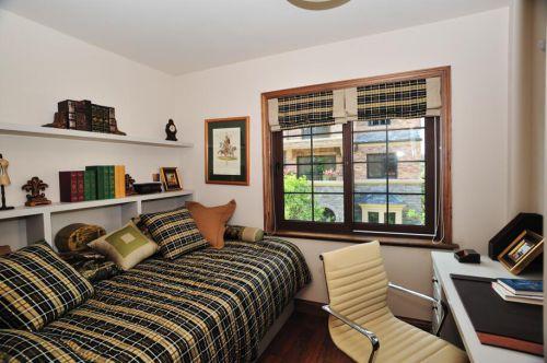 简约美式风格三居室书房飘窗图片