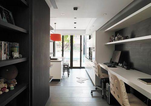 黑白公寓现代书房工作区图片
