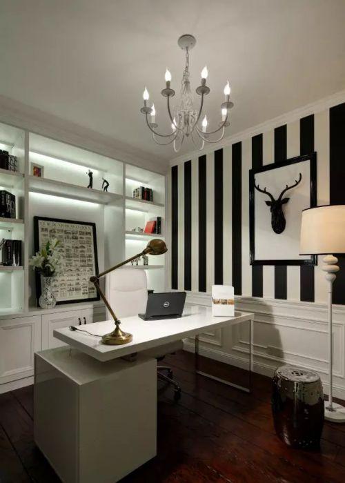 美式风格书房背景墙效果图