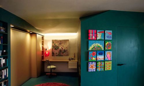 65平多彩小户型公寓书房背景墙装修图片