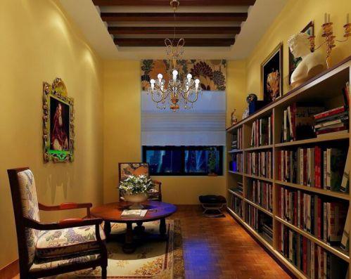 美式田园风格设计书房背景墙图片