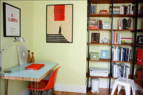 120平米田园风格两居室书房背景墙设计
