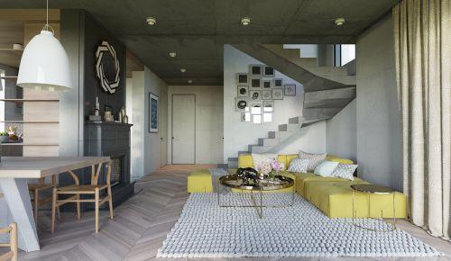 现代简约黑色别墅客厅装修效果图