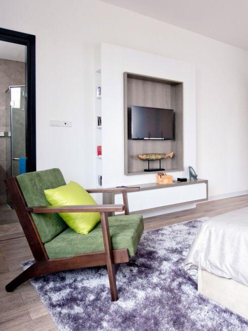 现代风格简洁客厅背景墙装修实景图