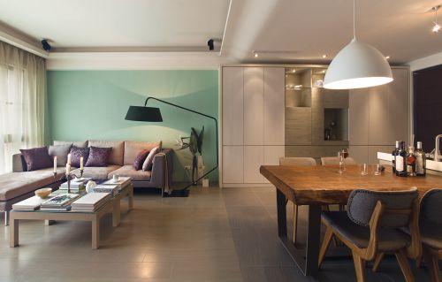 清晰绿色现代简约风格客厅装修设计