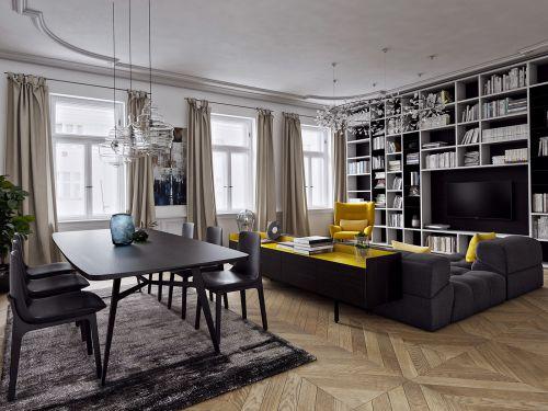 现代简约黑色不沉闷客厅装修效果图