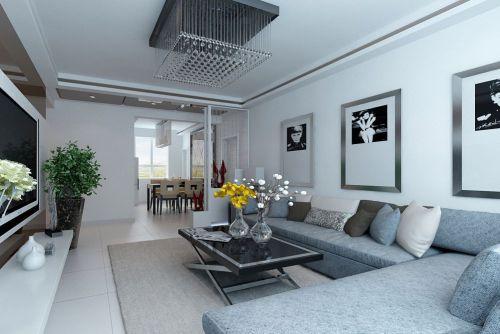 现代简约风格客厅白色背景墙设计图