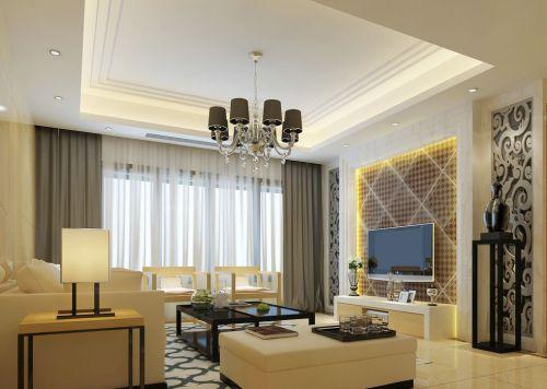 米色现代简约客厅电视柜装修效果图