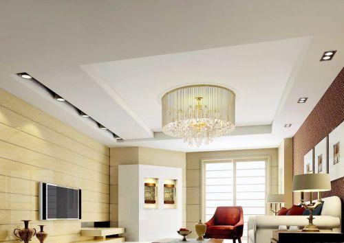 现代简约客厅米色木质背景墙装修效果图