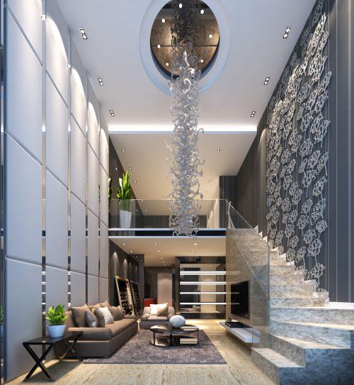 时尚灰白调现代客厅跃层复式效果图