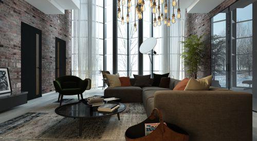 现代风黑色客厅别墅装修效果图