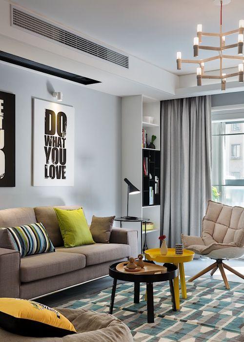 现代感简约风格客厅灯具装修设计