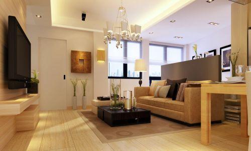 黄色现代简约风格客厅沙发装修效果图