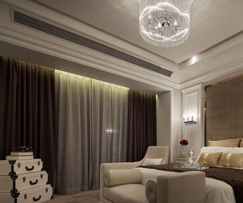 咖啡色厚重现代客厅窗帘效果图