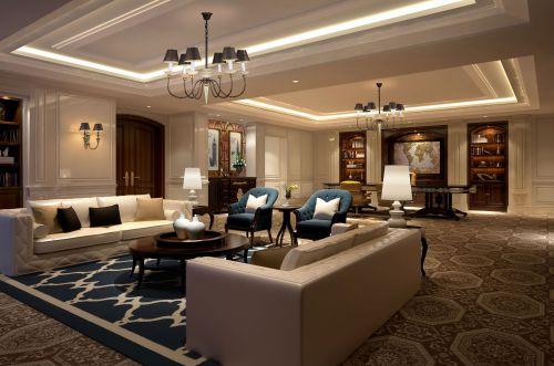 四居室现代简约灰色精致客厅吊灯灯具效果图