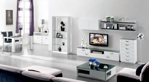 客厅现代时尚白色电视柜效果图