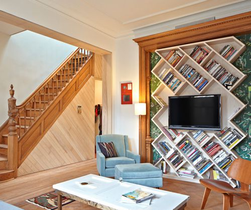 现代简约风格客厅收纳书架效果图