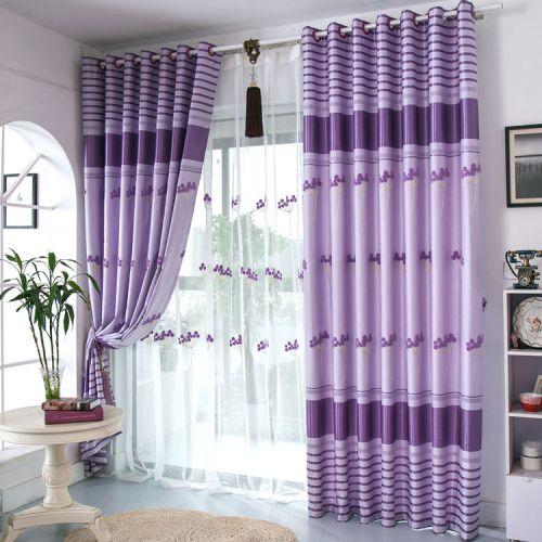 紫色高雅现代简约客厅窗帘效果图