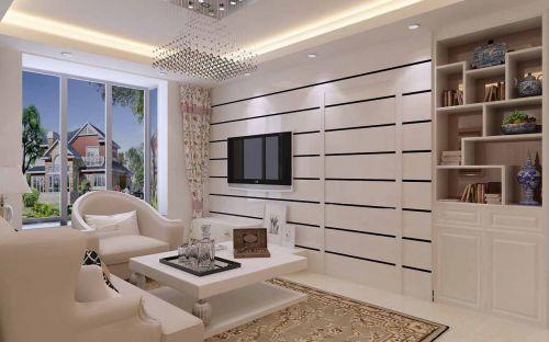 现代简约风格客厅条纹隐形门装修效果图