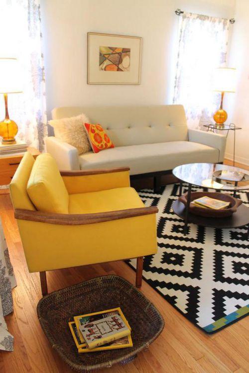 现代风格客厅经典简洁茶几装修实景图