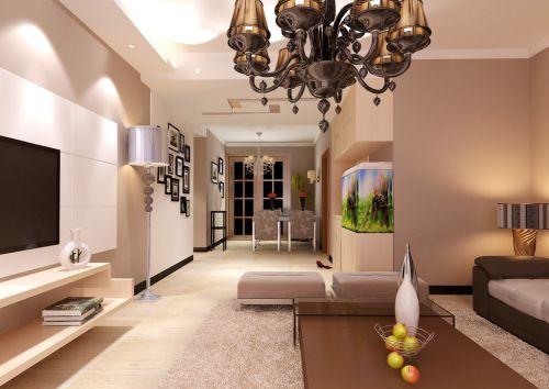 四居室现代简约风华贵客厅吊灯效果图