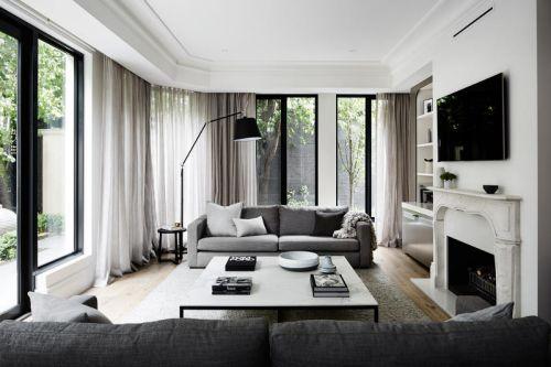 低调雅致现代风格灰色系客厅效果图