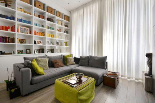时尚清雅现代风格客厅书架设计实景图